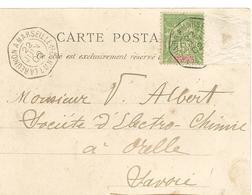 NOSSI BE Sur Cpa 1902 Cachet Maritime LA REUNION à MARSEILLE L.V. N°2 Manque 1 Timbre  ...G - Nossi-Bé (1889-1901)