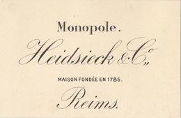 1893 Champagne Heidsieck Reims Prix Courant Au Dos - Belgium