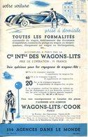 UNE NUIT CONFORTABLE POUR VOUS & VOTRE VOITURE.COMPAGNIE INTERNANIONALE DES WAGONS-LITS. - Old Paper