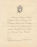 1898 Mariage Donnez Kessler Eckardt Marche Lez Ecaussinnes - Mariage