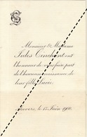 1900 Naissance Lucie Tinchant Anvers Cigare Tabac - Naissance & Baptême
