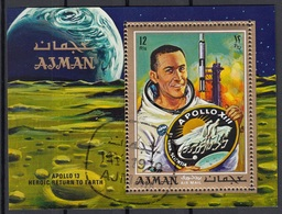 Ajman 1970 Bf. 193A Espace Spazio Space Apollo 13 Sheet Perf. CTO Eroico Ritorno Alla Terra - FDC & Commemoratives