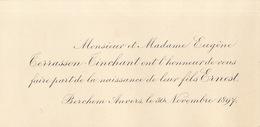 1897 Naissance De Ernest Terrasson Tinchant Berchem Lez Anvers - Naissance & Baptême