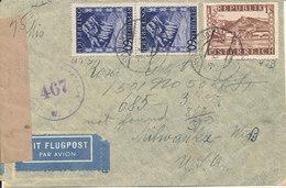 Austria Censored Cover Wien 9-10-1947 Sent To USA - 1945-.... 2ª República