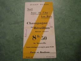 """JULIEN DAMOY - Champagne """"Réveillon"""" à 8fr.50 La Bouteille - Autres Collections"""