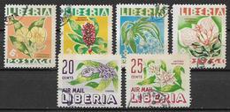 LIBERIA 1955 FIORI DIVERSI YVERT. 328-331+POSTA AEREA 89-90 USATA VF - Liberia