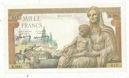 Billet , France ,1000 ,mille Francs ,Déesse Déméter , 28-1-1943  , 2 Scans ,frais Fr 1.95 E - 1871-1952 Anciens Francs Circulés Au XXème