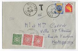 1957 - ALGERIE - TAXE De MOSTAGANEM Sur ENVELOPPE De MASCARA - Algerien (1924-1962)