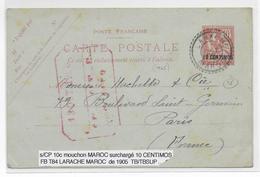 1905 - MAROC - CARTE ENTIER MOUCHON De LARACHE => PARIS - Morocco (1891-1956)