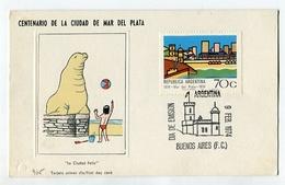 CENTENARIO DE LA CIUDAD DE MAR DEL PLATA TARJETA OBLITERES DIA DE EMISION 1974 BS. AS. ARGENTINA FDC -LILHU - Vakantie & Toerisme