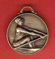 ANCIENNE MEDAILLE D AVIRON EN LAITON FEDERATION DES SOCIETES DE CULTURE PHYSIQUE DE TIR ET DE SPORT - Rowing