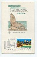 CENTENARIO FUNDACION DE LA CIUDAD DE MAR DEL PLATA TARJETA OBLITERES DIA DE EMISION 1974 LA PLATA, ARGENTINA FDC -LILHU - Vakantie & Toerisme