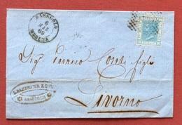 SASSUOLO MODENA D.c + Annullo A Punti Su 20 C. SU PIEGO PER LIVORNO VIA MODENA IN DATA 6/3/69 - 1861-78 Vittorio Emanuele II