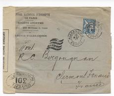 1917 - EGYPTE - MOUCHON Sur ENVELOPPE De ALEXANDRIE Avec CENSURE => CLERMONT-FERRAND - Lettres & Documents