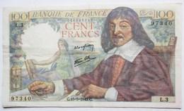 BILLET BANQUE DE FRANCE 100 FRANCS 1942 DESCARTES  97340 L.3 - 100 F 1942-1944 ''Descartes''