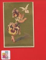 Paris Grands Magasins Printemps Comptoir Fleurs Plume Jolie Chromo TESTU MASSIN Jeune Fille Pensée Colombe - Autres