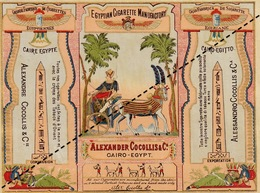 1893 Rare Papier étiquette De Paquet De Cigarettes Egyptiennes Egypte Cocollis Cigarette Chromo Lithographie - Cigarettes - Accessoires