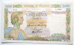 BILLET BANQUE DE FRANCE 500 FRANCS 1942 LA PAIX L.5496  810 - 1871-1952 Gedurende De XXste In Omloop