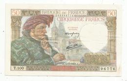 Billet , France ,50 ,cinquante Francs , Jacques Coeur,17-7-1941 , 2 Scans - 1871-1952 Anciens Francs Circulés Au XXème