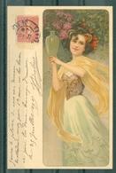ILLUSTRATEUR - Jeune Femme Tenantun Vase De Fleurs, Style Art Nouveau. Editeur Messner & Buch N° 114 - Illustrateurs & Photographes