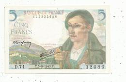 Billet , France ,5 ,cinq Francs ,Berger , 5-8-1943 , 2 Scans - 1871-1952 Circulated During XXth