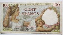 BILLET 100 CENT FRANCS 1941 SULLY  N.20308  915 - 1871-1952 Anciens Francs Circulés Au XXème