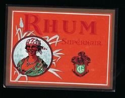 """Ancienne Etiquette  Rhum   Supérieur """"femme Coiffe """" - Rhum"""