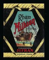 """Ancienne Etiquette  Rhum Milhson Extra  Ets Jifran Bordeaux """"bateau"""" - Rhum"""