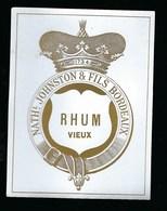 Ancienne Etiquette  Rhum  Vieux Nath Johnston & Fils Bordeaux - Rhum