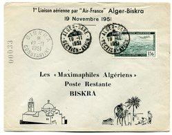 RC 11028 ALGERIE 1951 LETTRE 1er VOL ALGER BISKRA AIR FRANCE  FFC - Postmark Collection (Covers)