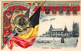 België  Gedenkenis Van Het 75e Verjaren Van De Belgische Onafhankelijkheid  Oostende Ostend 1830-1905          I 5188 - Andere Oorlogen