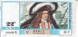 Loterie Nationale 1964 - 22 ème Tr.- Entier De 26 F.- Corsaire Jean Bart - Billets De Loterie