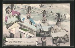CPA Vernouillet, Säuglinge An Einer Stromleitung Avec Ansichtskarten Um Den Hals, La Gare, Vue De La Rue - France