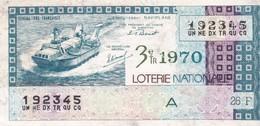 LOTERIE NATIONALE 1970 - 3eTR. - AEROGLISSEUR NAVIPLANE - GR A - 26F - Billets De Loterie