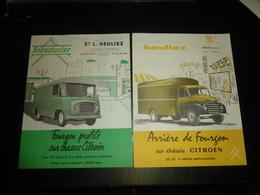 2 DEPLIANTS PUBLICITAIRES CARROSSIERS CONSTRUCTEURS ETABLISSEMENTS L.HEULIEZ, CERIZAY DEUX-SEVRES (AD) - Camions