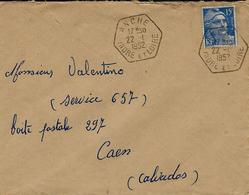 1952- Enveloppe D' ANCHE ( Indre Et Loire ) R A R   Hex. Plein  Sur 15 F Gandon - Storia Postale