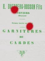 Verviers Textile Laine  H. DUESBERG BOSSON  Garnitures De Cardes - Publicités