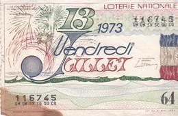 LOTERIE NATIONALE  / VENDREDI 13 1973 / 64 FR - Billets De Loterie