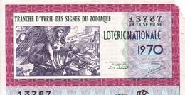 """BILLET DE LOTERIE NATIONALE DE 1970 SUR LE THEME :TRANCHE AVRIL SIGNES DU ZODIAQUE """"VIERGE"""" /BILLET ENTIER A 45 F - Billets De Loterie"""