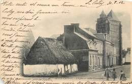 CPA 80 Somme Le Crotoy L'Eglise Et Vieille Chaumière 1902 Coulon-Delong Grands Magasins De La Petite Matelote - Le Crotoy