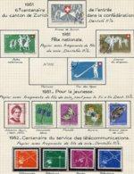10665 SUISSE  Collection Vendue Par Page  °  Pour La Jeunesse Et Fête Nationale    1951-52  TB/TTB - Suisse
