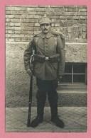 Carte Photo Allemande - Editeur à ULM - Soldat Allemand - Uniforme - Casque à Pointe - Regiment 123 Sur Le Casque - Guerra 1914-18