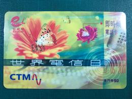 MACAU 2001 CTM EASY CALL CARDS WORLD TELECOMUNICATION DAY SPECIAL ISSUE. - Macau