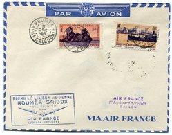 RC 11041 Nelle CALEDONIE 1948 LETTRE 1er VOL NOUMÉA - SAIGON INDOCHINE FFC - Luftpost