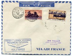 RC 11041 Nelle CALEDONIE 1948 LETTRE 1er VOL NOUMÉA - SAIGON INDOCHINE FFC - Briefe U. Dokumente