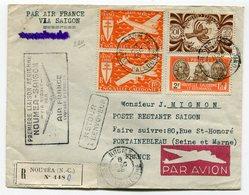 RC 11042 Nelle CALEDONIE 1948 LETTRE 1er VOL NOUMÉA - SAIGON INDOCHINE FFC - Luftpost