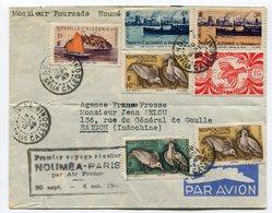 RC 11044 Nelle CALEDONIE 1949 LETTRE 1er VOL NOUMÉA PARIS FRANCE FFC - Luftpost
