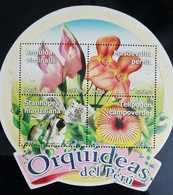 O) 2010 PERU, EXOTIC FLOWERS-ORCHIDS -ANGULOA VIRGINALIS-MASDEVALLIA-STANHOPEA-TELIPOGON, ODD SHAPE, MNH - Peru