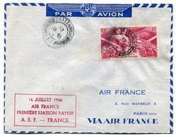RC 11046 AEF CONGO 1946 LETTRE 1er VOL BRAZZAVILLE FRANCE AIR FRANCE FFC - Luftpost