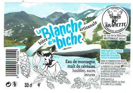 Etiquette Plastifiée La Blanche De La Biche Bière Artisanale (brasserie La Bramette, Matemale, Pyrénées Or., 33 Cl 4°) - Bière